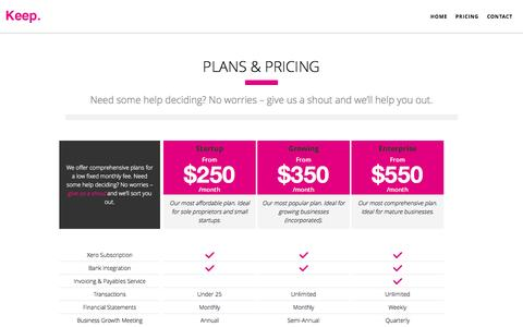 Screenshot of Pricing Page gokeep.co - Keep. Modern Accounting.  | Pricing - captured Oct. 6, 2014