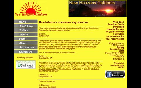Screenshot of Testimonials Page newhorizonsoutdoors.com - New Horizons Outdoors| Contact | Campers, Trailers, Truck Campers - captured Jan. 25, 2017