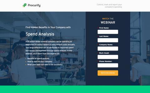 Screenshot of Landing Page procurify.com captured Oct. 24, 2017