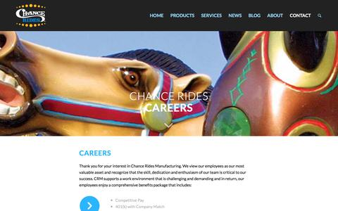 Screenshot of Jobs Page chancerides.com - Careers – CHANCE RIDES - captured July 17, 2018