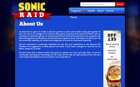 Screenshot of About Page sonicraid.com - Sonic Raid - About Us - captured Oct. 31, 2014