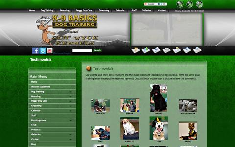 Screenshot of Testimonials Page k9basics.com - Best Dog Trainer | Dog Training Testimonials | K9 Basics - captured Oct. 6, 2014