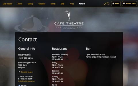 Screenshot of Contact Page cafetheatre.be - Cafe Theatre contact - captured Sept. 26, 2014