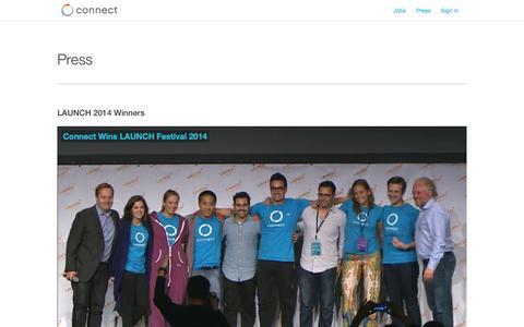 Screenshot of Press Page connect.com - Connect | Press - captured Nov. 3, 2014