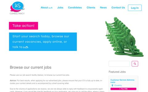 Screenshot of Jobs Page usconsultancy.co.uk - Browse our current jobs - US Consultancy - captured Nov. 29, 2016