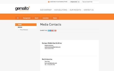 Screenshot of Press Page gemalto.com - Gemalto Media Contacts - captured June 30, 2018