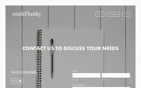 Screenshot of Contact Page workflunky.com - Get Started — workFlunky - captured Sept. 20, 2018
