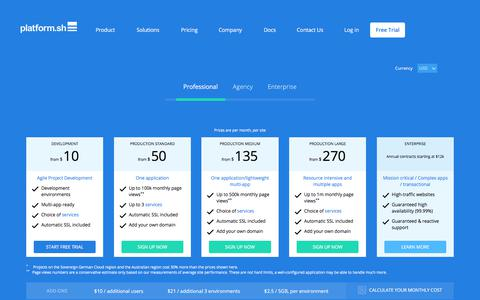 Screenshot of Pricing Page platform.sh - Incredible Cloud Hosting Features With Inexpensive Pricing - captured July 8, 2018