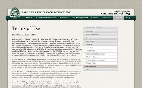 Screenshot of Terms Page pasins.com - Pasadena Insurance Agency, Inc. > Contact > Terms of Use - captured Oct. 1, 2014