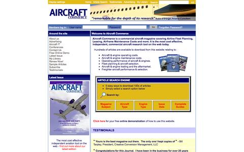 Screenshot of Home Page aircraft-commerce.com - Commercial aircraft magazine, Airline Fleet Planning, Leasing and Airframe Maintenance Costs - captured Sept. 30, 2014