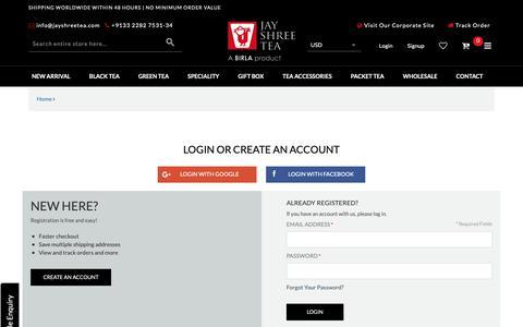 Screenshot of Login Page jayshreetea.com - Customer Login - captured Oct. 13, 2018