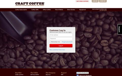 Screenshot of Login Page craftcoffee.com - Coffee Subscription, Delivered Monthly | Craft Coffee - captured Sept. 13, 2014