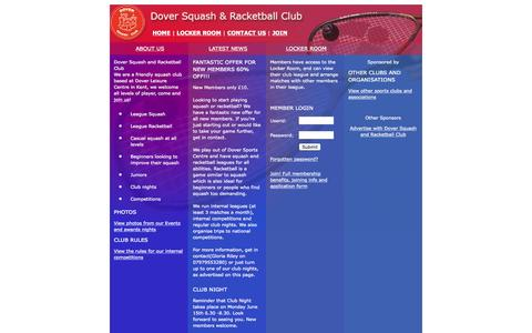 Screenshot of Home Page dover-squash-club.co.uk - Kent Squash Club - Dover Squash and Racketball Club, Kent, UK - captured June 19, 2015