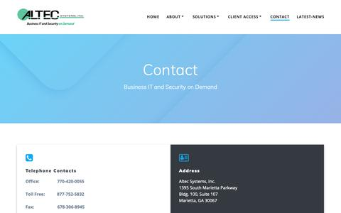 Screenshot of Contact Page altecsystems.com - Contact Altec Systems - captured June 13, 2019