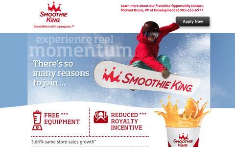 Screenshot of Landing Page smoothiekingfranchise.com - Smoothie Franchise: Smoothie King Franchises, Inc. - captured Oct. 27, 2014