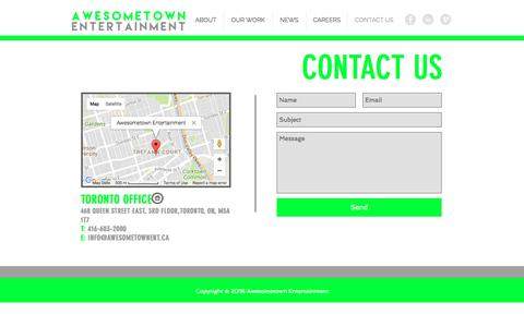 Screenshot of Contact Page awesometownent.ca - awesometown | CONTACT US - captured Oct. 9, 2017