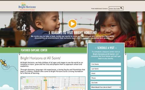 Screenshot of Landing Page brighthorizons.com - Bright Horizons® | Child Care, Back-Up Care, Early Education, and Work/Life Solutions - captured Sept. 26, 2016