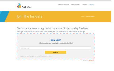 Screenshot of Signup Page amigo-productions.com - Join the Insiders - Amigo Productions - captured Dec. 25, 2015