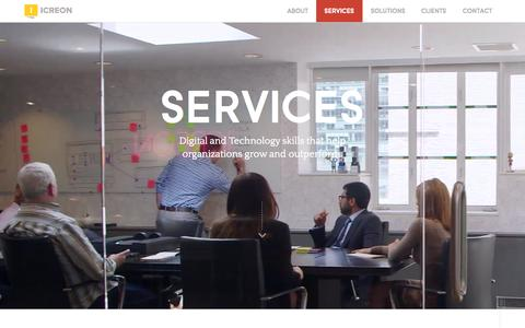 Screenshot of Services Page icreon.us - Custom Web, Software, and Mobile Development Services - captured Sept. 29, 2015