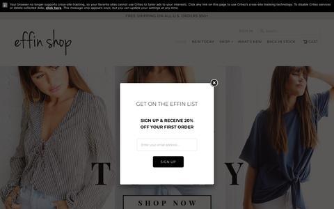 Screenshot of Home Page effinshop.com - Effin Shop   look good, feel effin great. - captured July 16, 2018