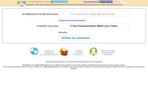 Screenshot of Home Page directoresto.fr - Le Guide Restaurant de France. Annuaire meilleur restaurant - captured Jan. 7, 2016