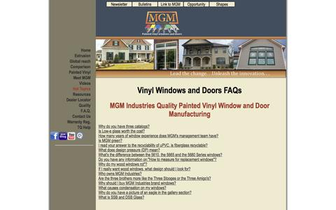 Screenshot of FAQ Page mgmindustries.com - FAQs About Vinyl Windows | MGM Industries - captured Dec. 15, 2015