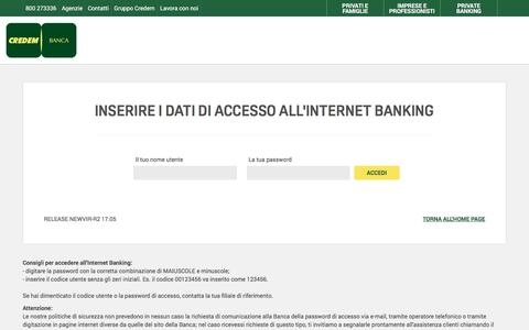 Screenshot of Login Page credem.it - Credem Home Banking - captured May 28, 2017