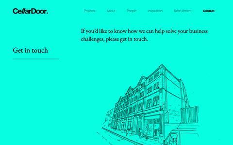 Screenshot of Contact Page cellardoorcreative.co.uk - Contact - CellarDoor - Creative studio, Cheltenham - captured Sept. 27, 2018