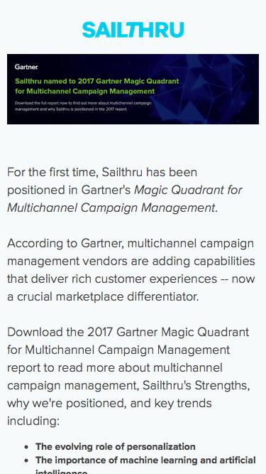 2017 Gartner Magic Quadrant for Multichannel Campaign Management | Sailthru