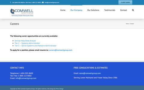 Screenshot of Jobs Page comwellgroup.com - Network Services, IT Consulting & Outsourcing, Computer Support - Vancouver, Richmond, Burnaby | Comwell Systems Group - captured Nov. 8, 2016