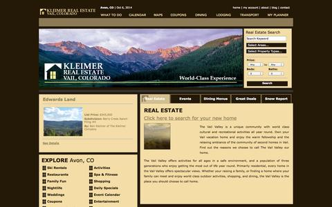 Screenshot of Home Page kleimer.com - The Kleimer Company vacation planning site for real estate, area restaurants, lodging, skiing, activities, spas, shopping and current events calendar - captured Oct. 6, 2014
