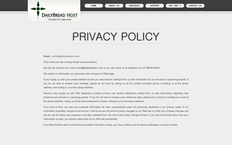 Screenshot of Privacy Page dailybreadhost.com - Daily Bread communication Internet Services: Web Solutions, Hosting Solutions, Web site designing, Web Hosting Provider India - captured March 25, 2016