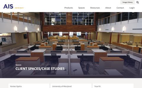 Screenshot of Case Studies Page ais-inc.com - Spaces | AIS - captured Nov. 12, 2018
