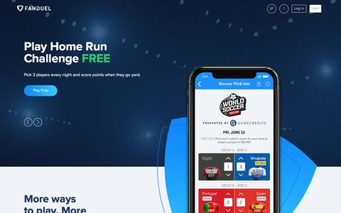 Screenshot of Home Page fanduel.com - FanDuel: Daily Fantasy Football, MLB, NBA, NHL Leagues for Cash    FanDuel - captured June 18, 2018