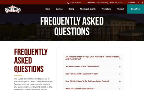 Screenshot of FAQ Page oxfordcasino.com - Frequently Asked Questions | Oxford Casino - captured Oct. 19, 2018