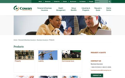 Screenshot of Products Page cowangroup.ca - Products | Business Insurance | Personal & Business Insurance | Cowan Insurance Group - captured Nov. 13, 2016