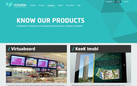 Screenshot of Products Page virtualizesolucoes.com.br - Digital Signage, Mobile applications, e-commerce - Virtualize - captured Sept. 3, 2016