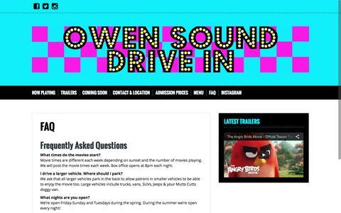 Screenshot of FAQ Page owensounddrivein.ca - FAQ | Owen Sound Drive In - captured June 9, 2016