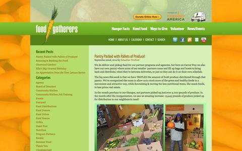 Screenshot of Blog foodgatherers.org - Food Gatherers | Fighting Hunger Where We Live - captured Sept. 30, 2014
