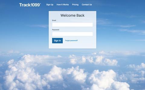 Screenshot of Login Page track1099.com - Track1099 - captured June 13, 2019