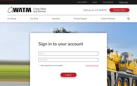 Screenshot of Login Page watm.com.au - Client Login   WATM Cranes Sales & Services - captured May 30, 2019