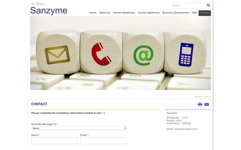 Screenshot of Contact Page sanzyme.com - Sanzyme -Contact Us - captured May 28, 2017