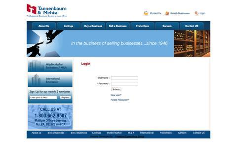 Screenshot of Login Page tmbroker.com - Tannenbaum & Mehta Business Brokers - Sell a Business - Buy a Business - captured Oct. 7, 2014
