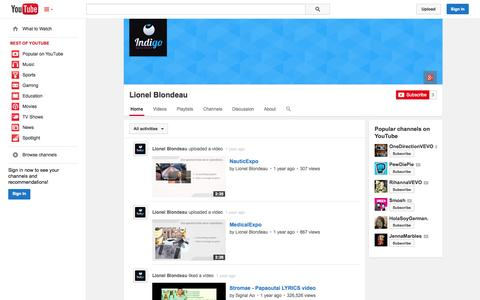 Screenshot of YouTube Page youtube.com - Lionel Blondeau  - YouTube - captured Oct. 23, 2014