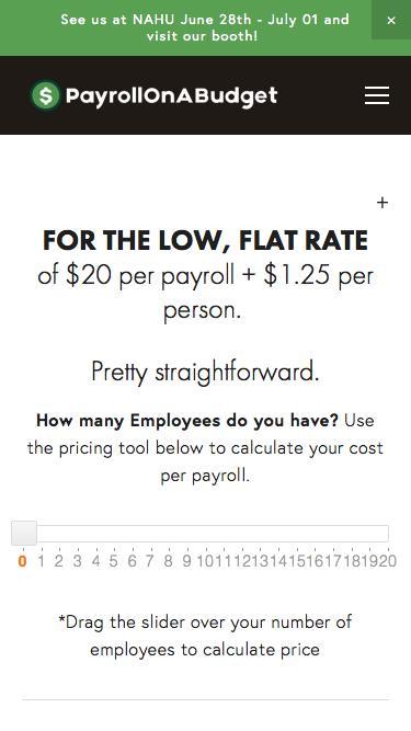 Screenshot of Pricing Page  payrollonabudget.com - Pricing — Payroll On A Budget