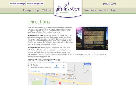 Screenshot of Maps & Directions Page thegentleplace.com - Directions - Gentle Place Wellness Center, Framingham - captured June 15, 2017