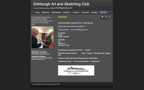 Screenshot of Contact Page edinburgh-sketching-club.com - CONTACT | Edinburgh Art and Sketching Club - captured March 14, 2016