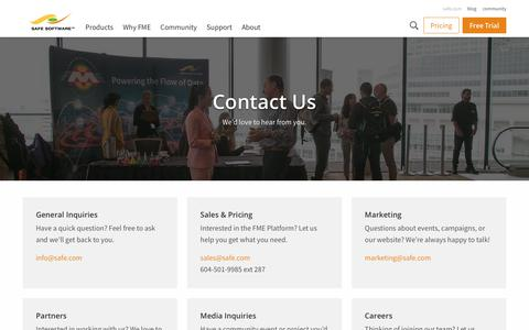 Screenshot of Contact Page safe.com - Contact Us | Safe Software - captured Aug. 12, 2019