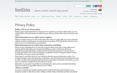 Screenshot of Privacy Page bodlon.com - Bodlon Privacy Policy | Bodlon - captured Dec. 9, 2018