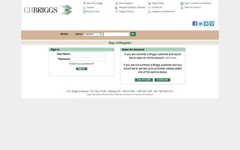Screenshot of Login Page chbriggs.com - Storefront Commerce Login - captured Sept. 29, 2016